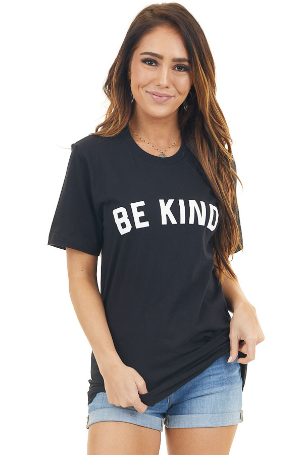 Solid Black 'Be Kind' Graphic Tee with Short Sleeves front close up