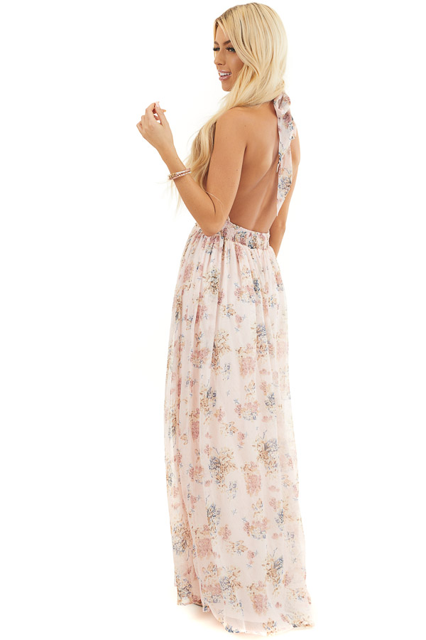 Blush Pink Floral Print Halter Neck Tie Maxi Dress side full body