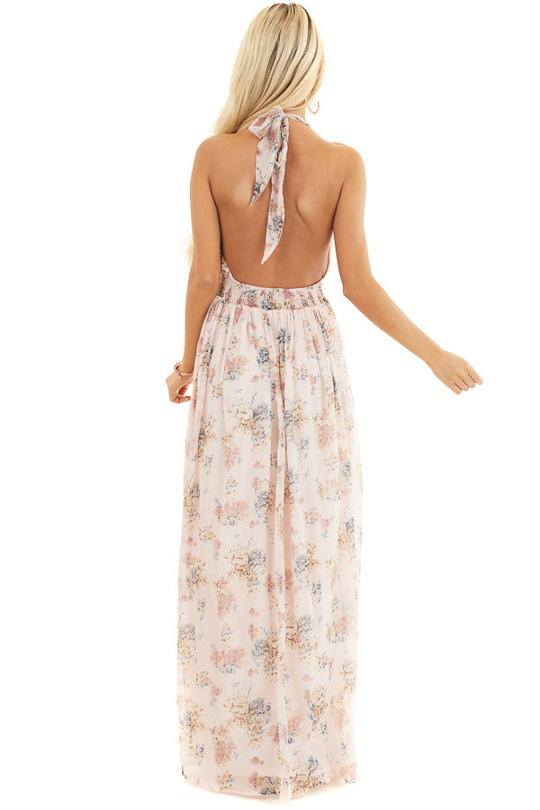 Blush Pink Floral Print Halter Neck Tie Maxi Dress back full body