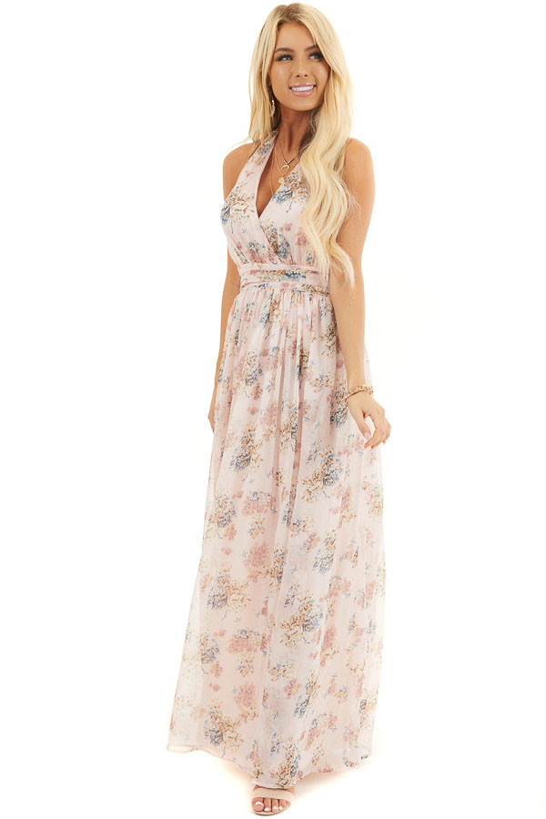 Blush Pink Floral Print Halter Neck Tie Maxi Dress front full body