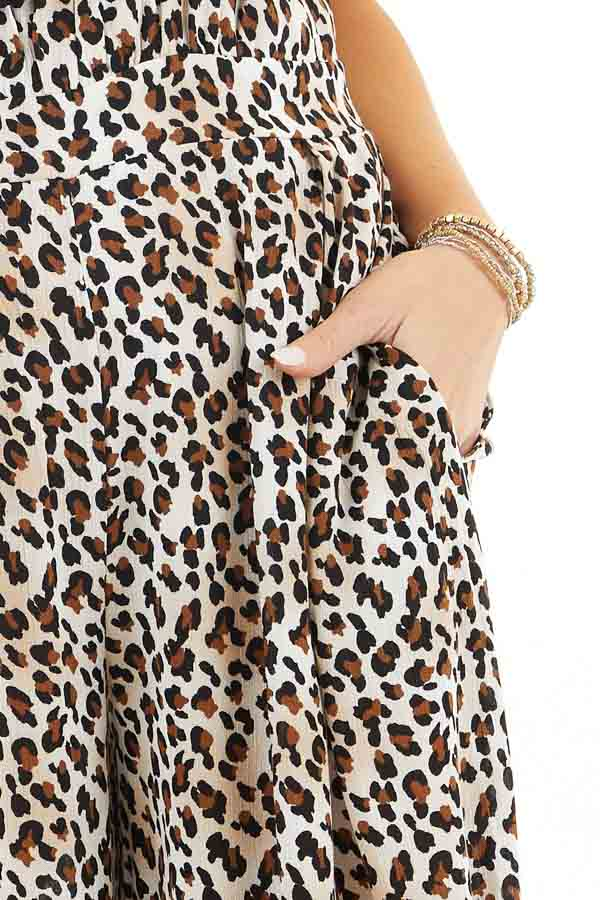 Latte and Ivory Leopard Print Jumpsuit with Spaghetti Straps detail