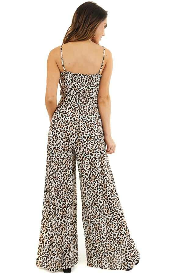 Latte and Ivory Leopard Print Jumpsuit with Spaghetti Straps back full body