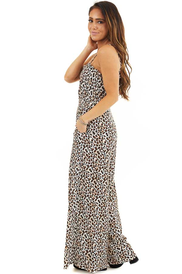 Latte and Ivory Leopard Print Jumpsuit with Spaghetti Straps side full body