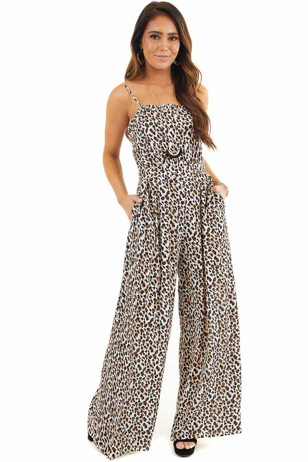 Latte and Ivory Leopard Print Jumpsuit with Spaghetti Straps front full body