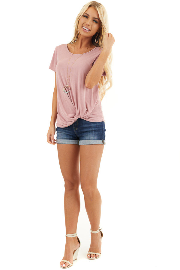 Dusty Blush Short Sleeve Top with Front Knot front full body