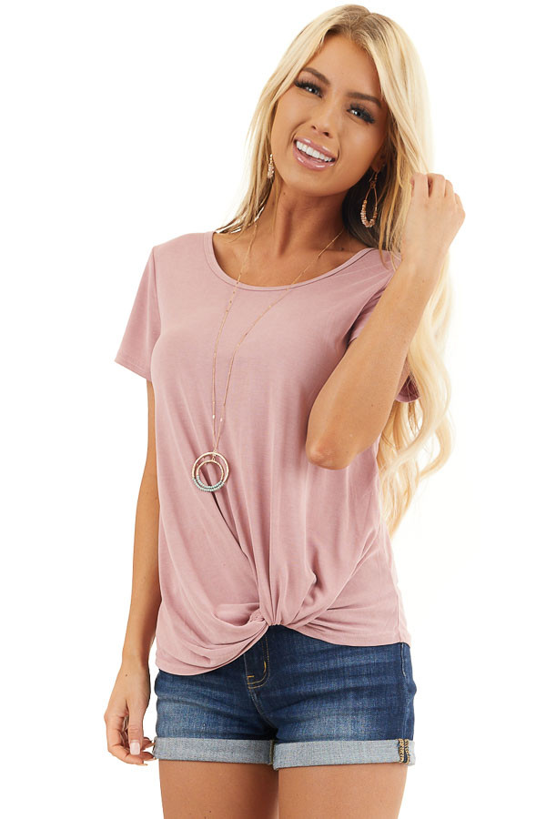 Dusty Blush Short Sleeve Top with Front Knot front close up