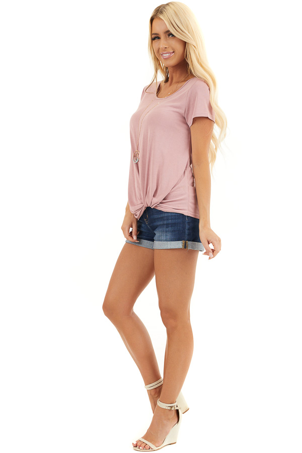 Dusty Blush Short Sleeve Top with Front Knot side full body