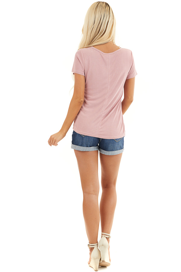 Dusty Blush Short Sleeve Top with Front Knot back full body