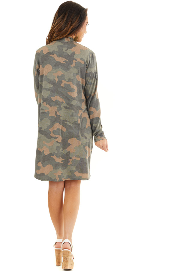 Olive Green and Latte Camo Print Cardigan with Open Front back full body