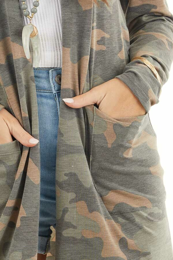 Olive Green and Latte Camo Print Cardigan with Open Front detail