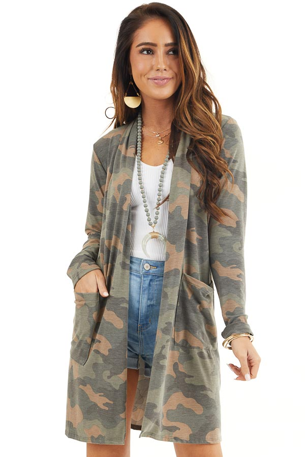 Olive Green and Latte Camo Print Cardigan with Open Front front close up