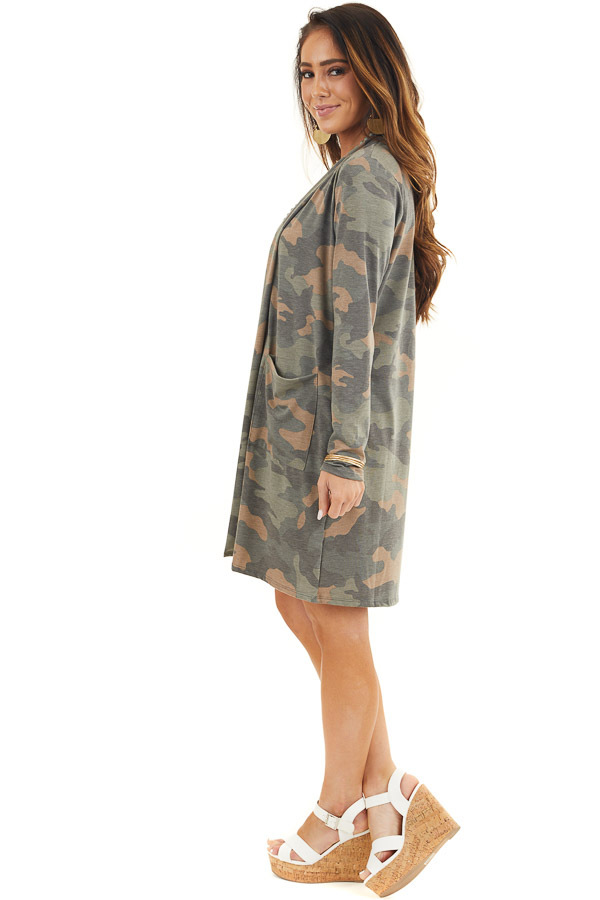 Olive Green and Latte Camo Print Cardigan with Open Front side full body