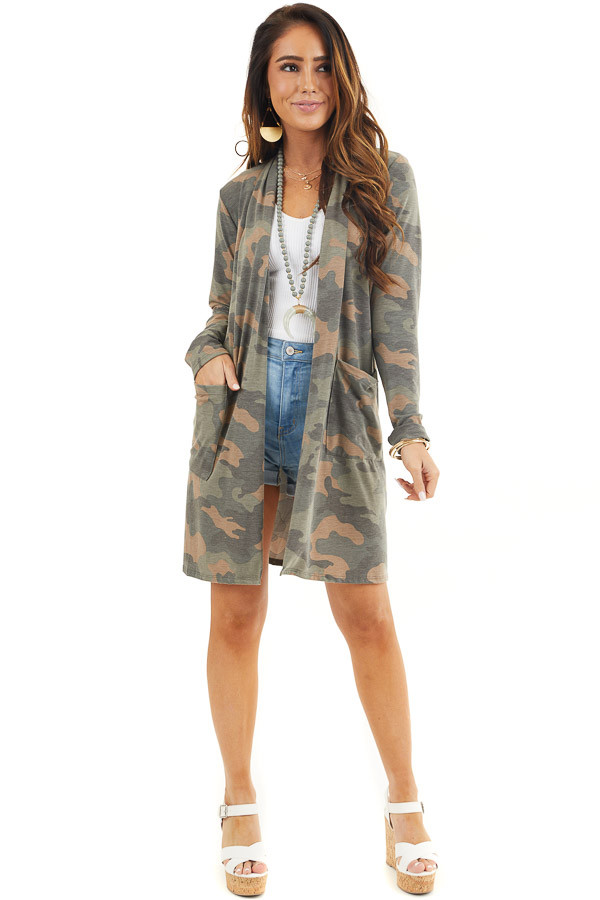 Olive Green and Latte Camo Print Cardigan with Open Front front full body