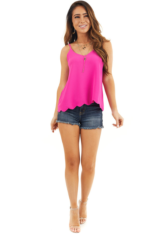 Magenta Pink Cropped Tank Top with Scalloped Hemline front full body