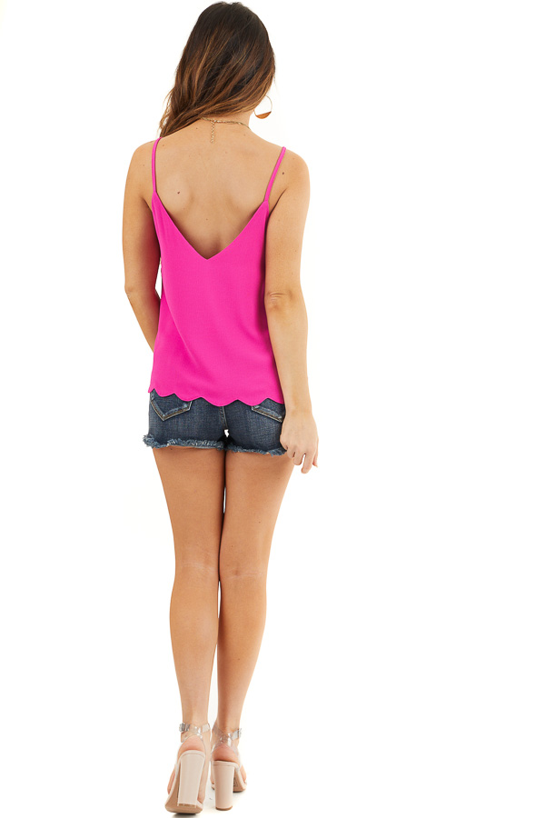 Magenta Pink Cropped Tank Top with Scalloped Hemline back full body
