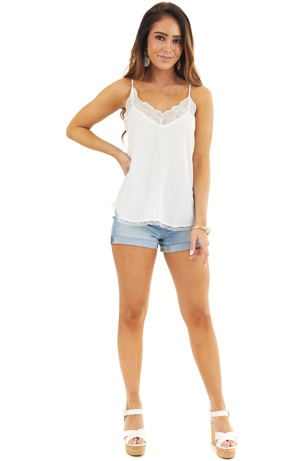 White V Neck Tank Top with Lace Trim and Spaghetti Straps front full body