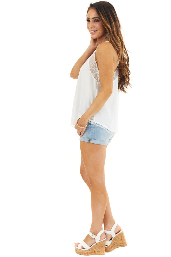 White V Neck Tank Top with Lace Trim and Spaghetti Straps side full body