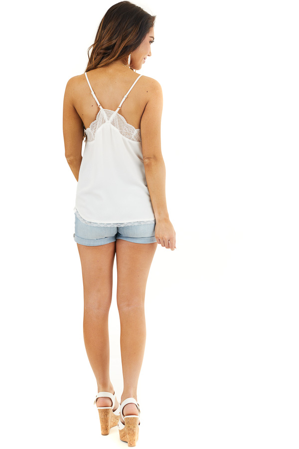 White V Neck Tank Top with Lace Trim and Spaghetti Straps back full body