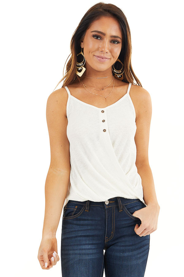 Off White Ribbed Knit Tank Top with Twisted Front Detail front close up