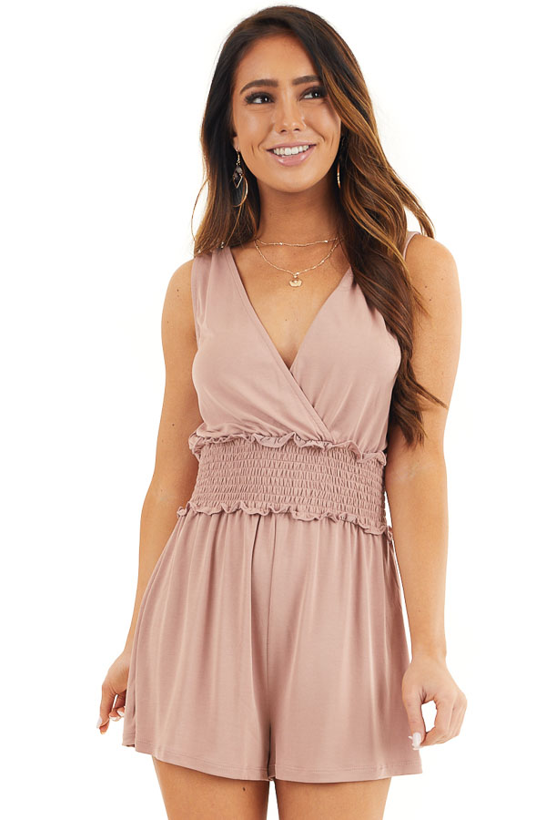 Dusty Rose Sleeveless V Neck Romper with Smocked Waistline front close up