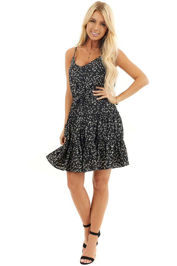 Black and Cream Tiered Leaf Print Dress with Waist Tie front full body