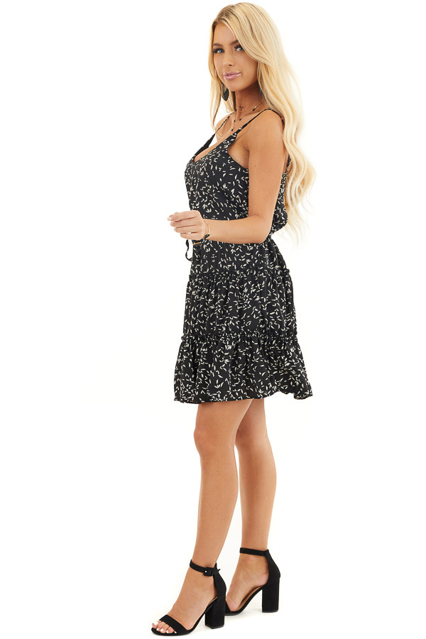 Black and Cream Tiered Leaf Print Dress with Waist Tie side full body