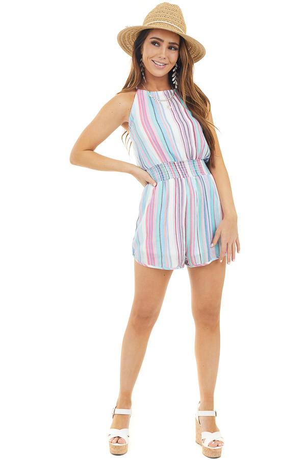 Lilac Multicolor Striped High Neck Romper with Smocking