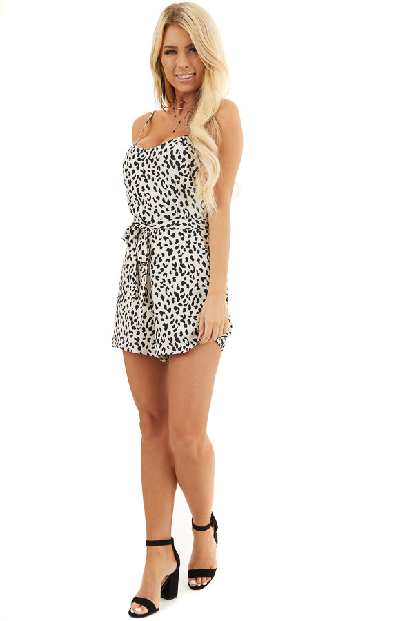 Off White Leopard Print Sleeveless Romper with Pockets front full body