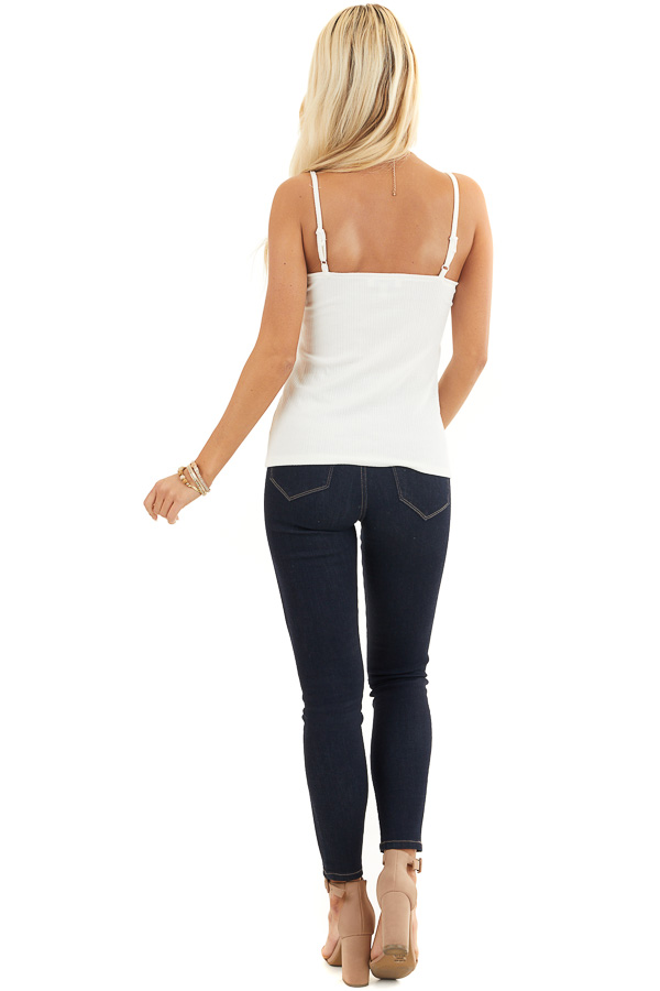 Off White Ribbed Knit V Neck Tank Top with Lace Details back full body