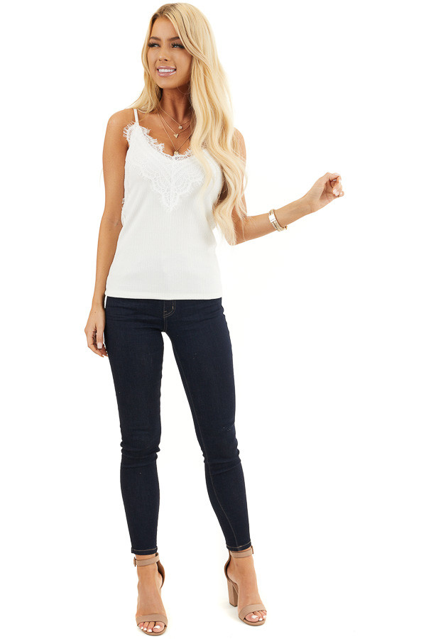 Off White Ribbed Knit V Neck Tank Top with Lace Details front full body