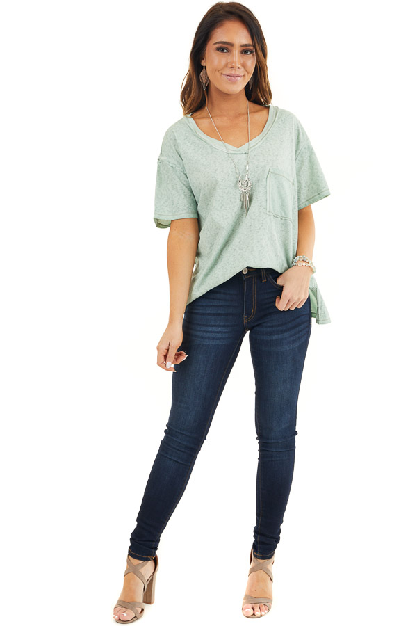 Sage Mineral Wash Top with Front Pocket and Side Slits front full body