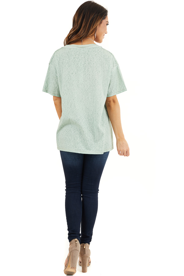 Sage Mineral Wash Top with Front Pocket and Side Slits back full body