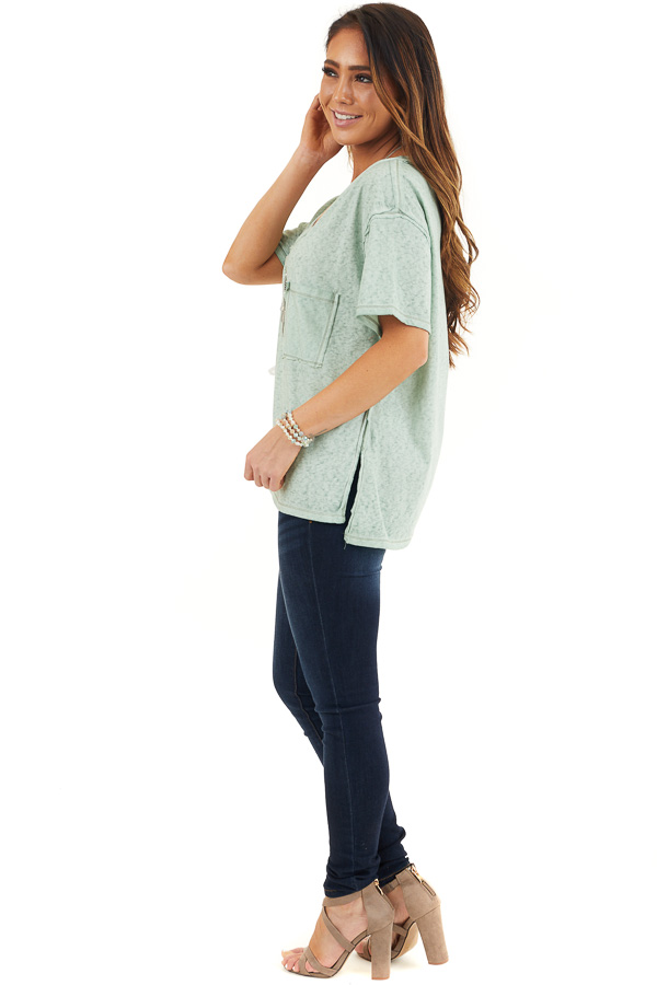 Sage Mineral Wash Top with Front Pocket and Side Slits side full body