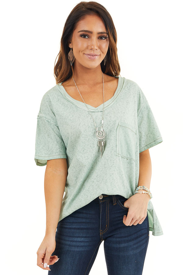 Sage Mineral Wash Top with Front Pocket and Side Slits front close up