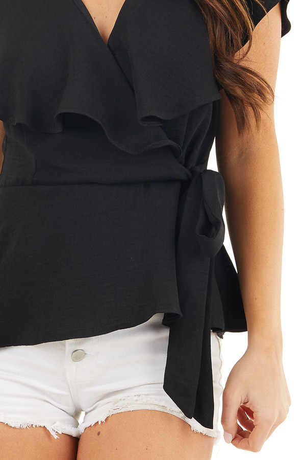 Black Surplice Peplum Top with Waist Tie and Overlay Details detail