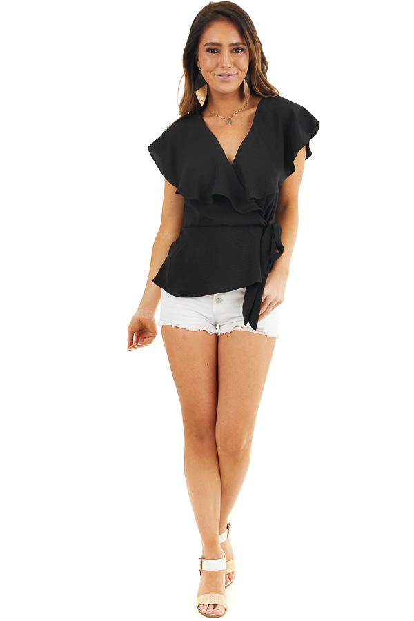 Black Surplice Peplum Top with Waist Tie and Overlay Details front full body
