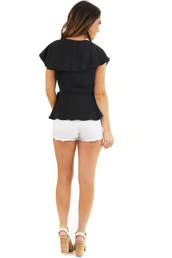 Black Surplice Peplum Top with Waist Tie and Overlay Details back full body