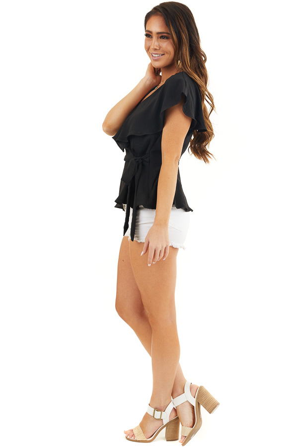 Black Surplice Peplum Top with Waist Tie and Overlay Details side full body