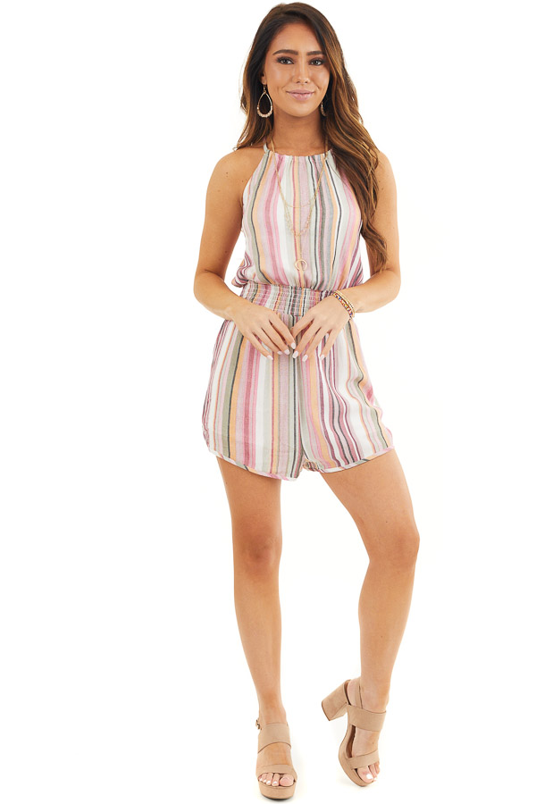 Blush Multicolor Striped High Neck Romper with Smocking front full body