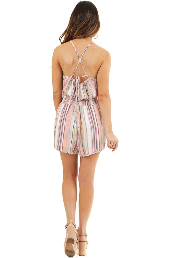 Blush Multicolor Striped High Neck Romper with Smocking back full body