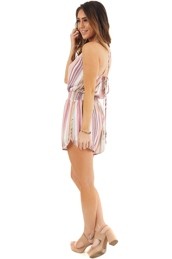 Blush Multicolor Striped High Neck Romper with Smocking side full body