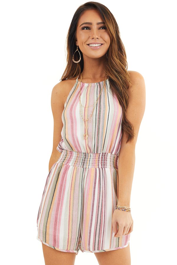 Blush Multicolor Striped High Neck Romper with Smocking front close up