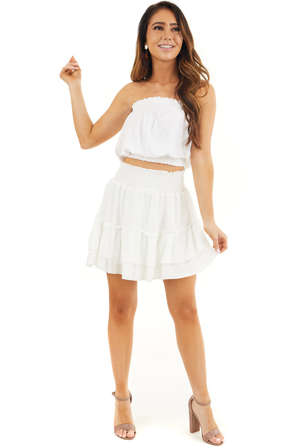 Off White Smocked Waist Mini Skirt with Ruffle Details front full body