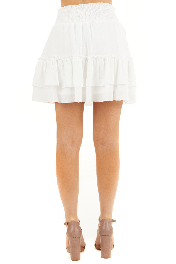 Off White Smocked Waist Mini Skirt with Ruffle Details back view