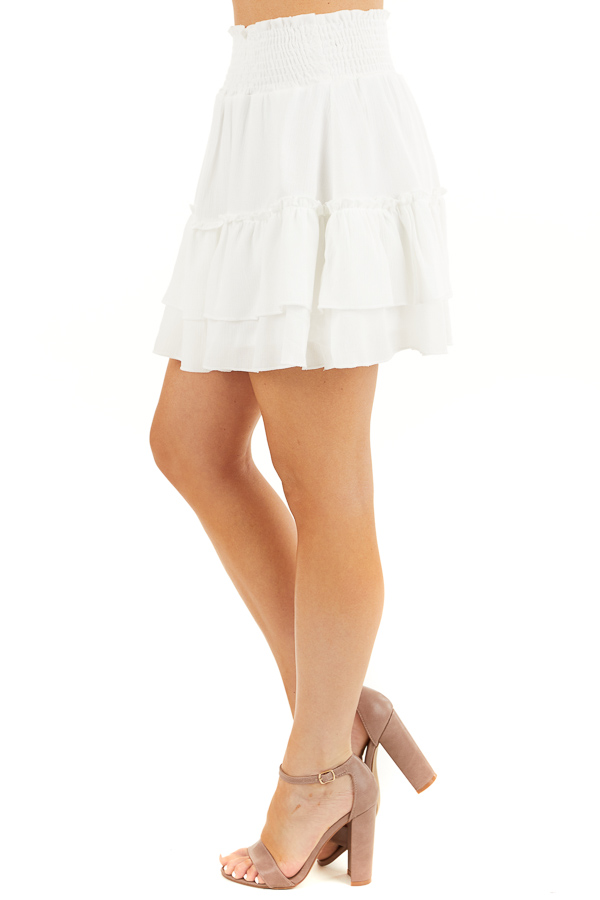Off White Smocked Waist Mini Skirt with Ruffle Details side view