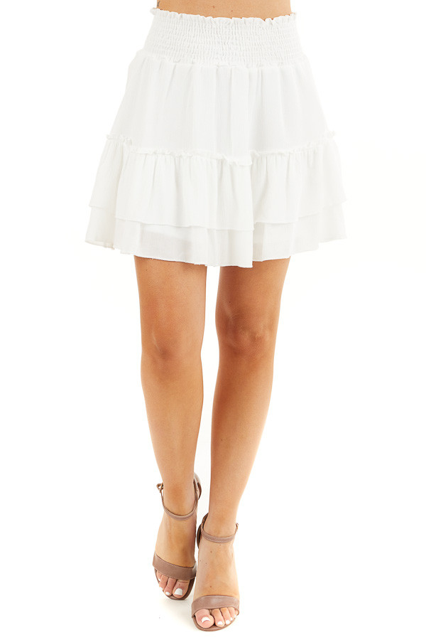 Off White Smocked Waist Mini Skirt with Ruffle Details front view