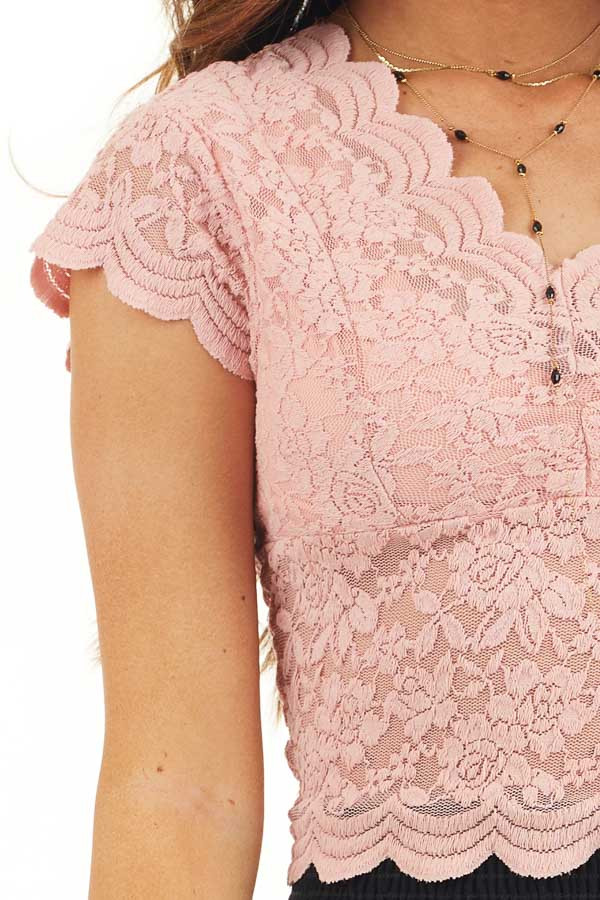 Baby Pink Lace Short Sleeve Woven Top with Scalloped Hemline detail
