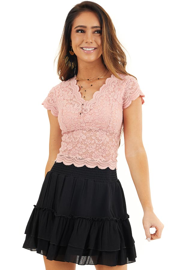 Baby Pink Lace Short Sleeve Woven Top with Scalloped Hemline front close up