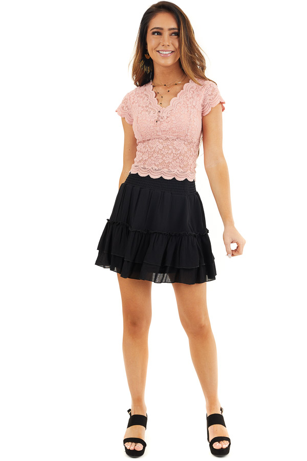 Baby Pink Lace Short Sleeve Woven Top with Scalloped Hemline front full body