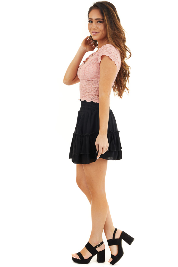 Baby Pink Lace Short Sleeve Woven Top with Scalloped Hemline side full body